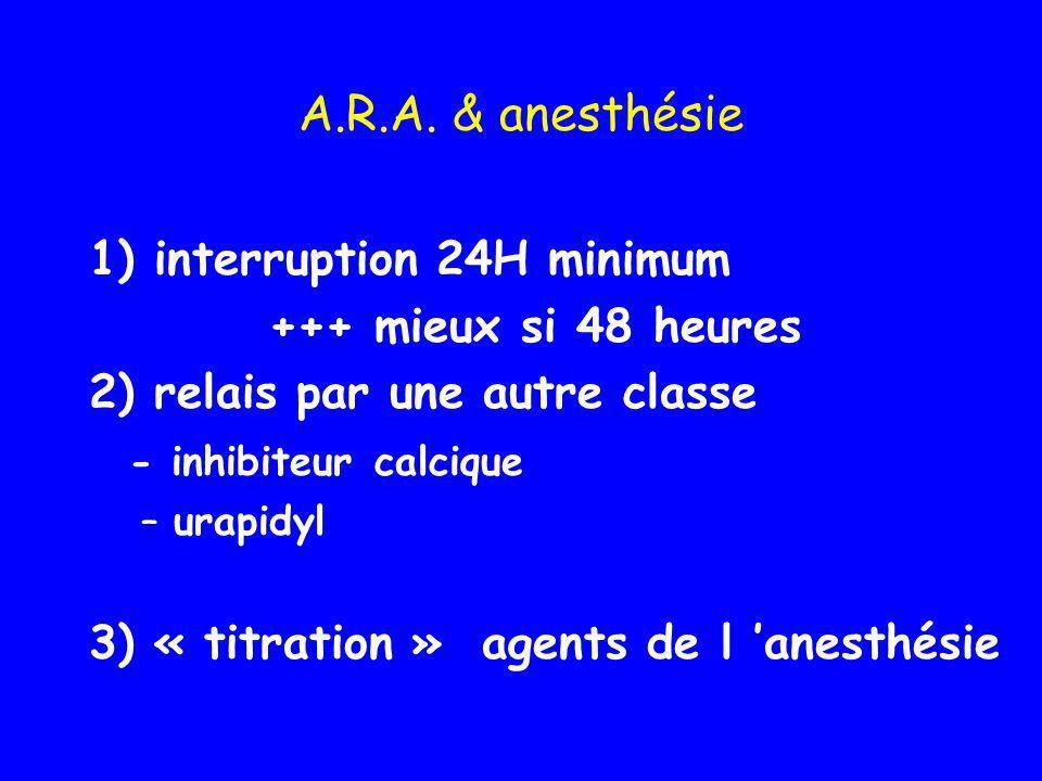A.R.A. & anesthésie 1) interruption 24H minimum +++ mieux si 48 heures 2) relais par une autre classe - inhibiteur calcique –urapidyl 3) « titration »