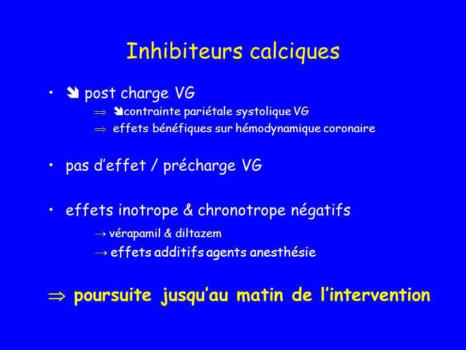 Inhibiteurs calciques post charge VG contrainte pariétale systolique VG effets bénéfiques sur hémodynamique coronaire pas deffet / précharge VG effets