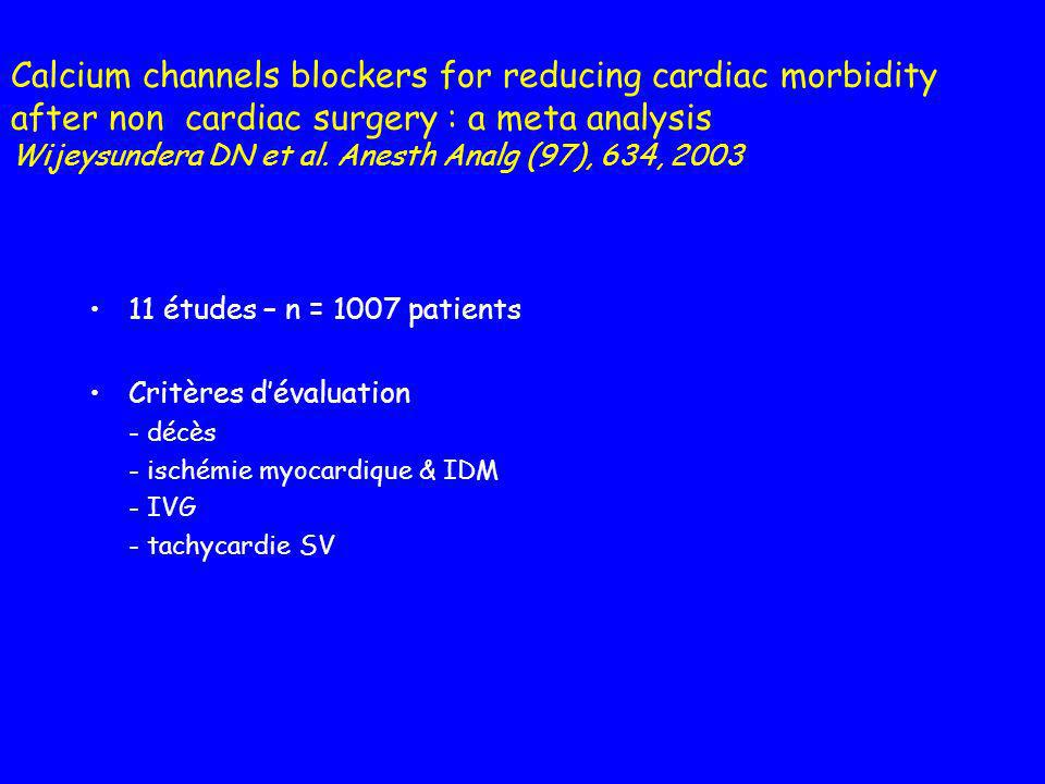 Calcium channels blockers for reducing cardiac morbidity after non cardiac surgery : a meta analysis Wijeysundera DN et al. Anesth Analg (97), 634, 20
