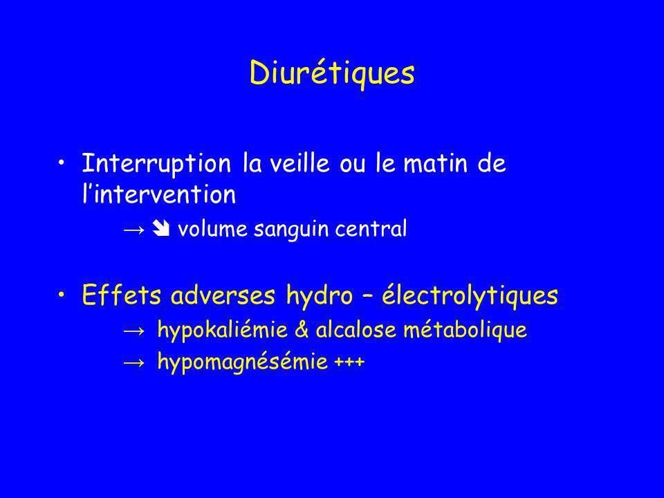Diurétiques Interruption la veille ou le matin de lintervention volume sanguin central Effets adverses hydro – électrolytiques hypokaliémie & alcalose
