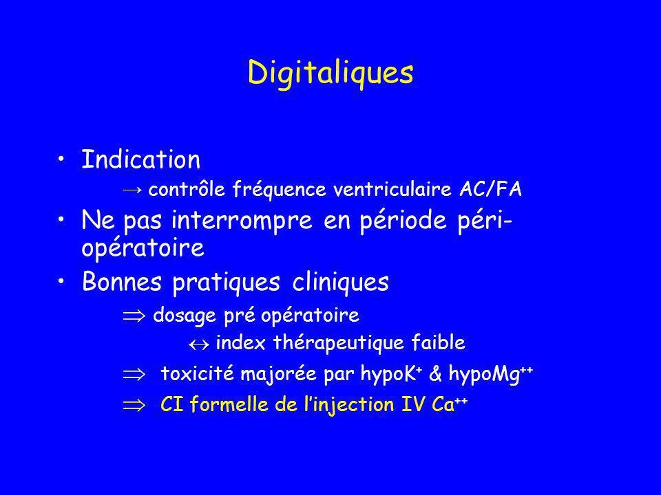 Digitaliques Indication contrôle fréquence ventriculaire AC/FA Ne pas interrompre en période péri- opératoire Bonnes pratiques cliniques dosage pré op