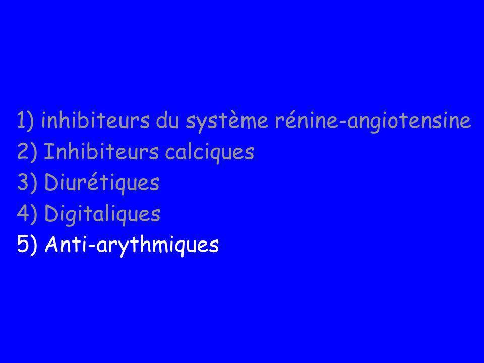 1) inhibiteurs du système rénine-angiotensine 2) Inhibiteurs calciques 3) Diurétiques 4) Digitaliques 5) Anti-arythmiques