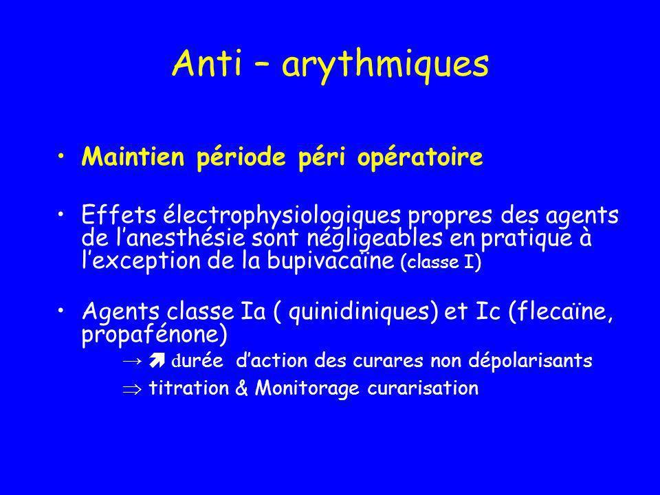 Anti – arythmiques Maintien période péri opératoire Effets électrophysiologiques propres des agents de lanesthésie sont négligeables en pratique à lex
