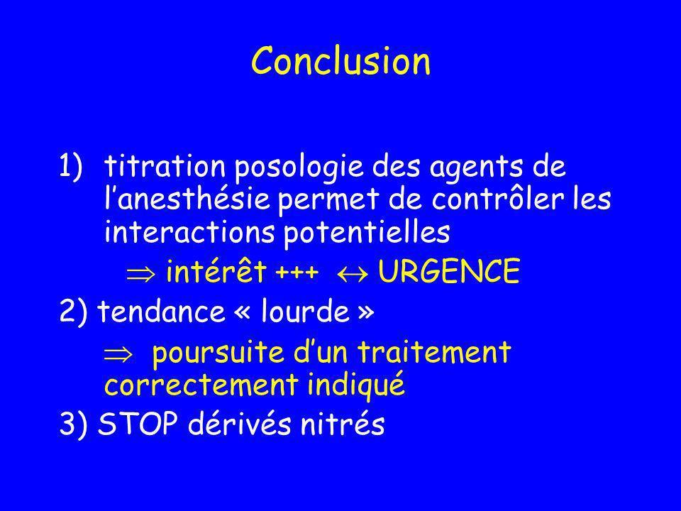 Conclusion 1)titration posologie des agents de lanesthésie permet de contrôler les interactions potentielles intérêt +++ URGENCE 2) tendance « lourde