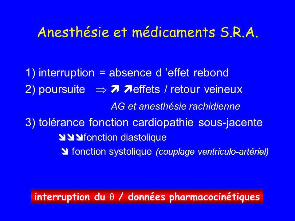 Anesthésie et médicaments S.R.A. 1) interruption = absence d effet rebond 2) poursuite effets / retour veineux AG et anesthésie rachidienne 3) toléran