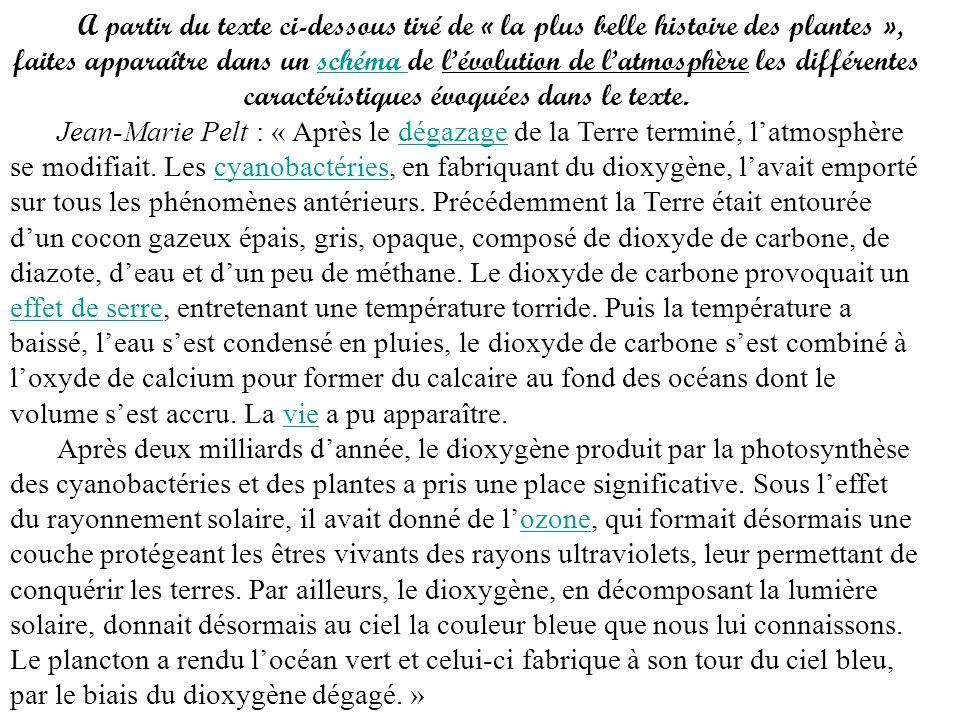 A partir du texte ci-dessous tiré de « la plus belle histoire des plantes », faites apparaître dans un schéma de lévolution de latmosphère les différe