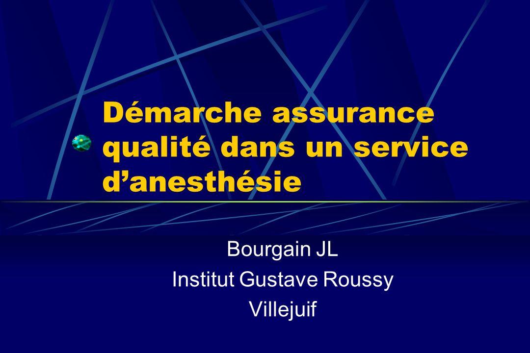 Démarche assurance qualité dans un service danesthésie Bourgain JL Institut Gustave Roussy Villejuif