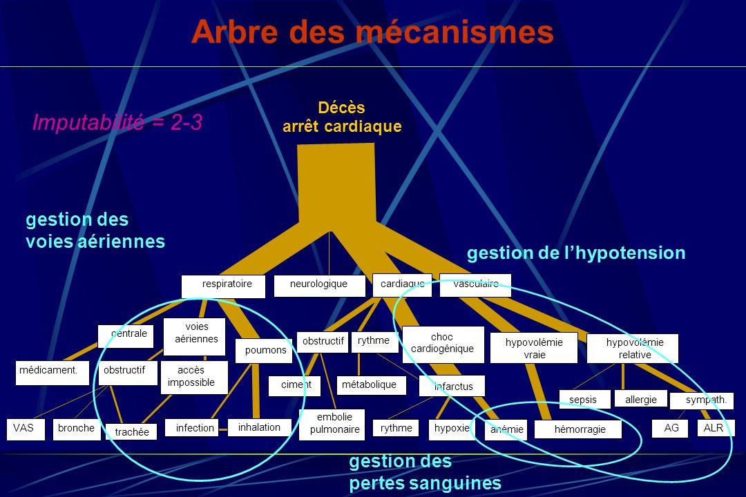 Arbre des mécanismes Imputabilité = 2-3 gestion des voies aériennes gestion de lhypotension gestion des pertes sanguines