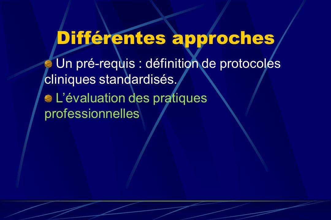 Différentes approches Un pré-requis : définition de protocoles cliniques standardisés. Lévaluation des pratiques professionnelles