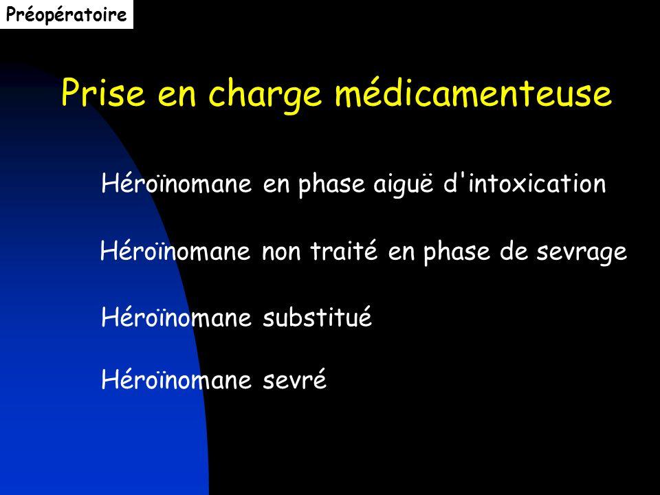 Prise en charge médicamenteuse Héroïnomane en phase aiguë d'intoxication Héroïnomane non traité en phase de sevrage Héroïnomane substitué Héroïnomane