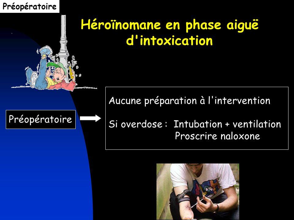 Héroïnomane en phase aiguë d'intoxication Préopératoire Aucune préparation à l'intervention Si overdose : Intubation + ventilation Proscrire naloxone