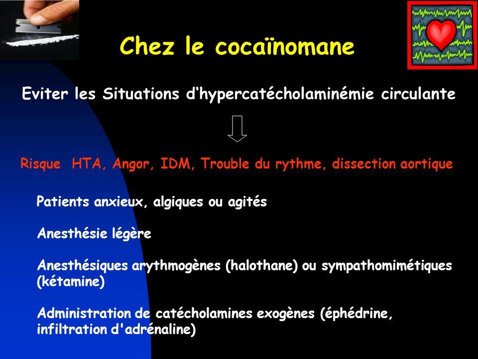 Patients anxieux, algiques ou agités Anesthésie légère Anesthésiques arythmogènes (halothane) ou sympathomimétiques (kétamine) Administration de catéc