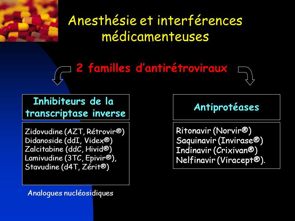 Anesthésie et interférences médicamenteuses 2 familles dantirétroviraux Zidovudine (AZT, Rétrovir®) Didanoside (ddI, Videx®) Zalcitabine (ddC, Hivid®)
