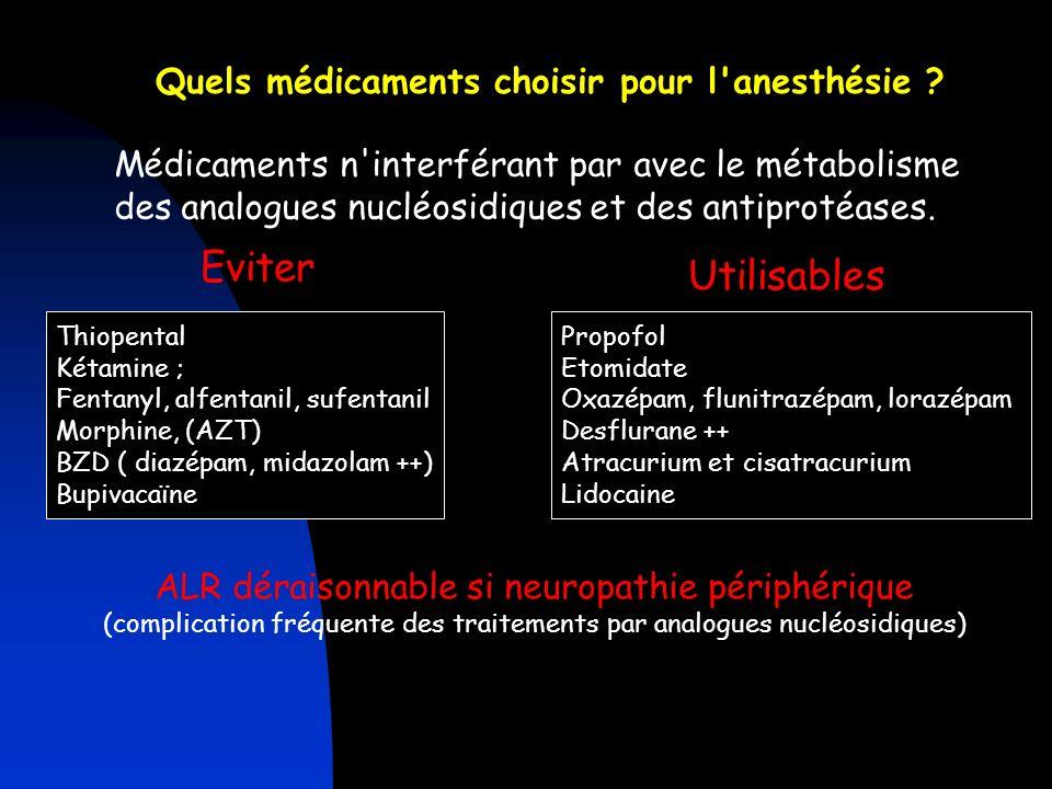 Quels médicaments choisir pour l'anesthésie ? Médicaments n'interférant par avec le métabolisme des analogues nucléosidiques et des antiprotéases. Evi