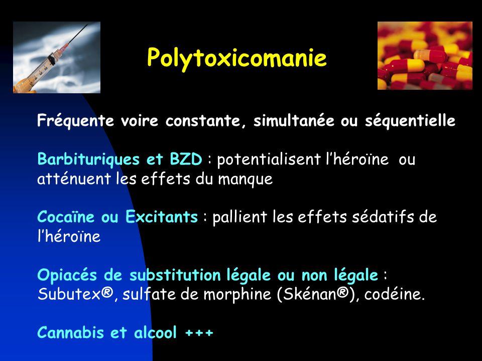 Polytoxicomanie Fréquente voire constante, simultanée ou séquentielle Barbituriques et BZD : potentialisent lhéroïne ou atténuent les effets du manque