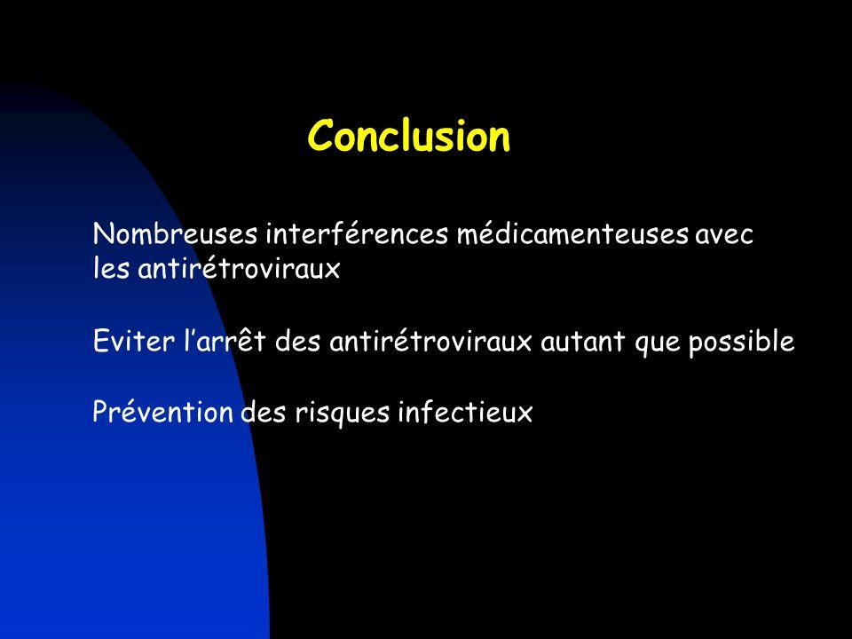 Prévention des risques infectieux Nombreuses interférences médicamenteuses avec les antirétroviraux Conclusion Eviter larrêt des antirétroviraux autan