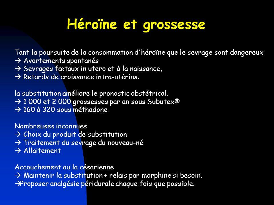 Tant la poursuite de la consommation d'héroïne que le sevrage sont dangereux Avortements spontanés Sevrages fœtaux in utero et à la naissance, Retards