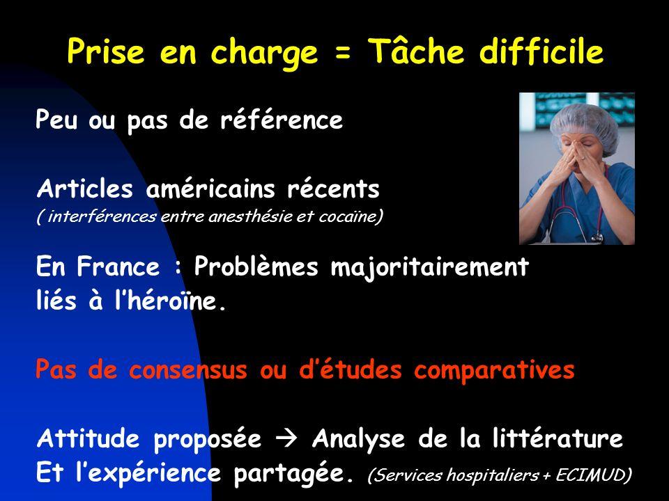 Prise en charge = Tâche difficile Peu ou pas de référence Articles américains récents ( interférences entre anesthésie et cocaïne) En France : Problèm