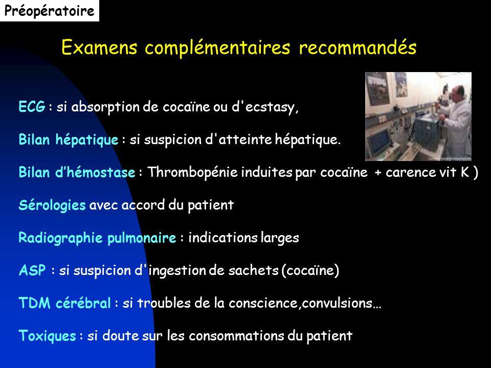 Examens complémentaires recommandés ECG : si absorption de cocaïne ou d'ecstasy, Bilan hépatique : si suspicion d'atteinte hépatique. Bilan dhémostase