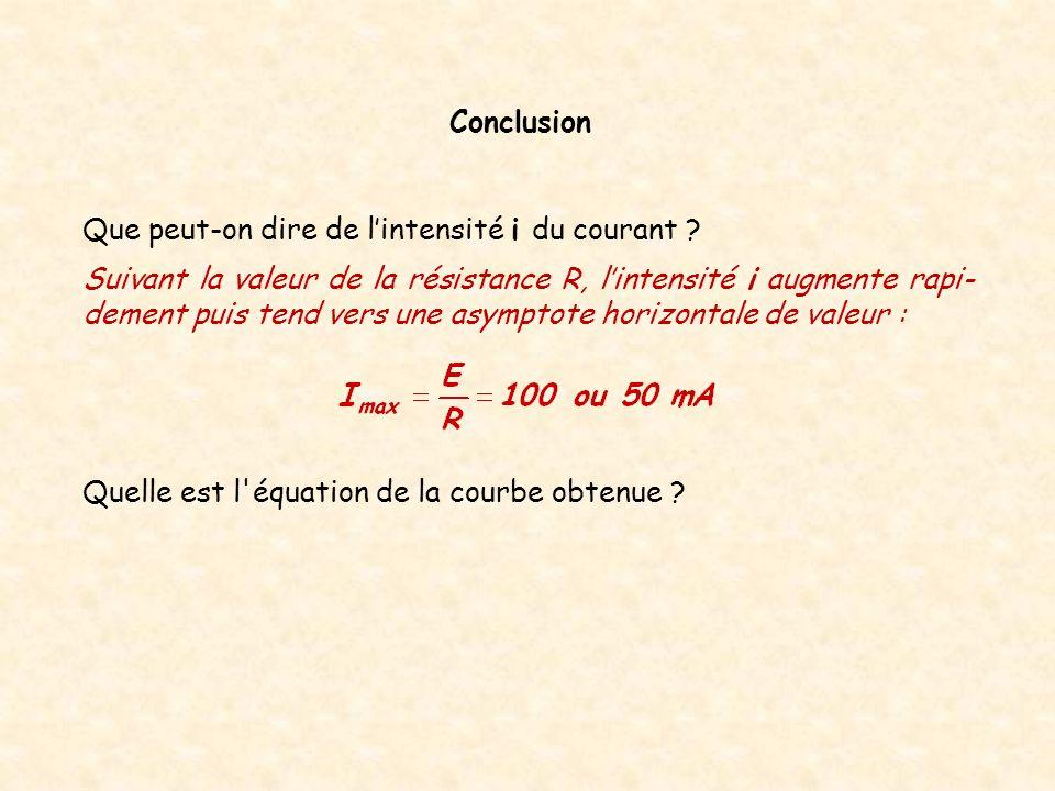 Quelle est l'équation de la courbe obtenue ? Conclusion Que peut-on dire de lintensité i du courant ? Suivant la valeur de la résistance R, lintensité