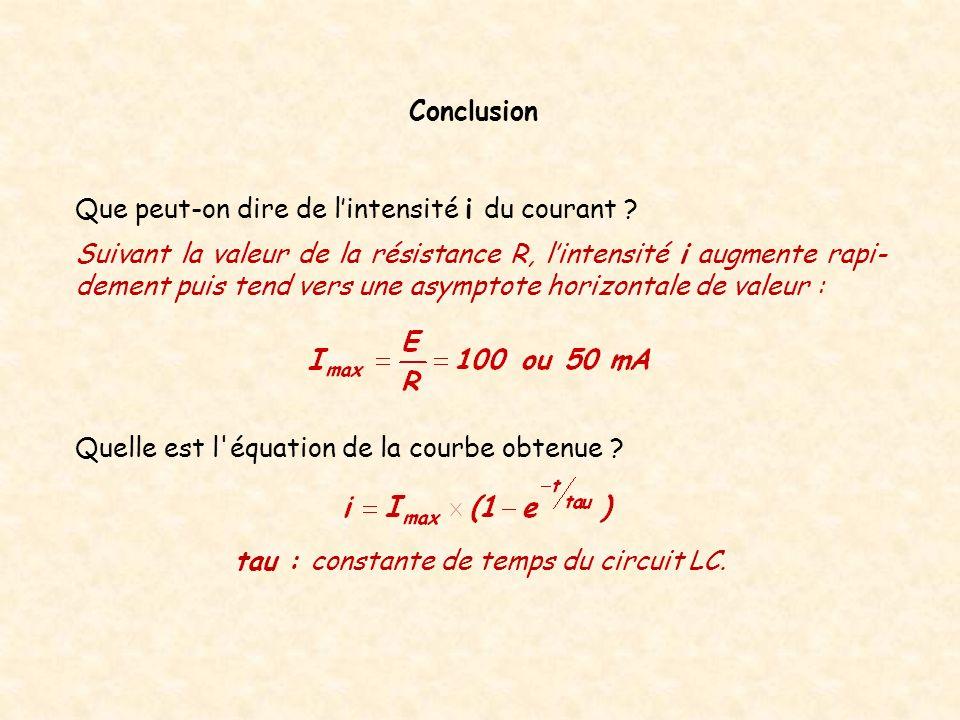 Quelle est l'équation de la courbe obtenue ? Conclusion tau : constante de temps du circuit LC. Que peut-on dire de lintensité i du courant ? Suivant