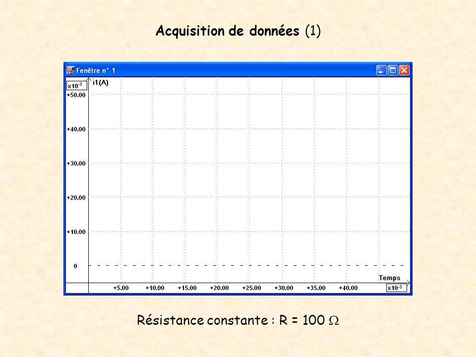 Acquisition de données (1) Résistance constante : R = 100