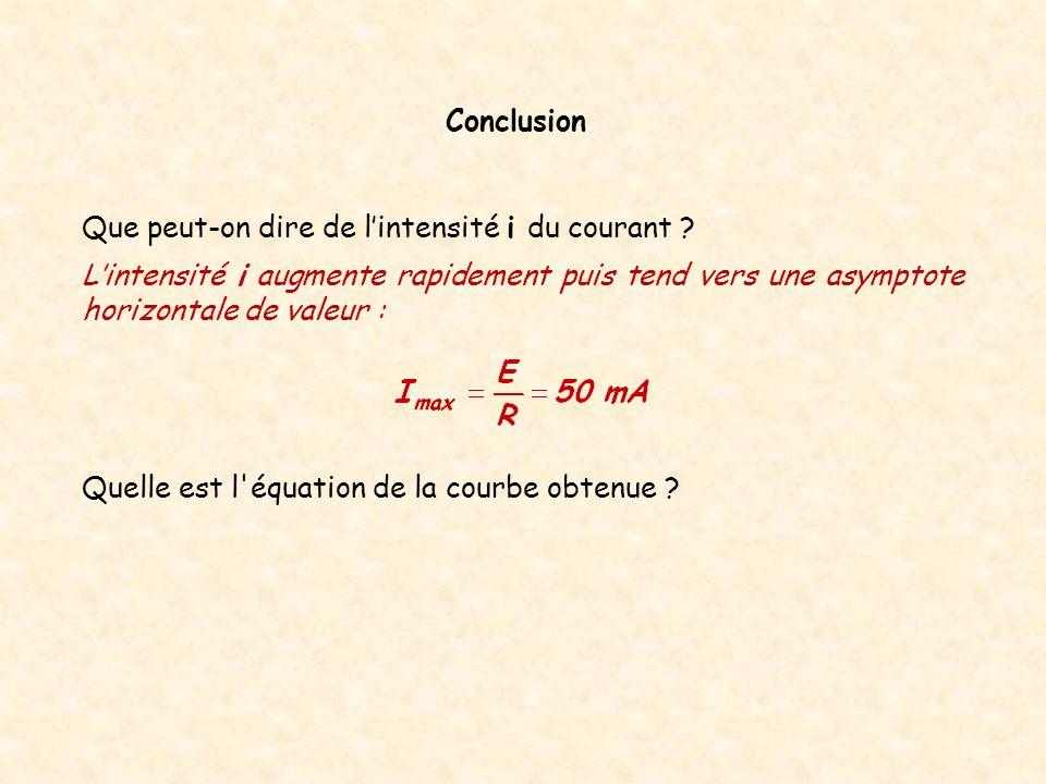 Quelle est l'équation de la courbe obtenue ? Conclusion Lintensité i augmente rapidement puis tend vers une asymptote horizontale de valeur : Que peut
