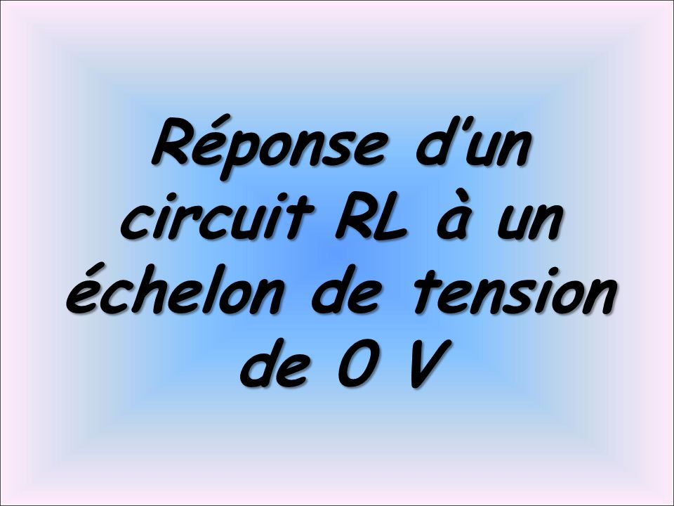 Réponse dun circuit RL à un échelon de tension de 0 V