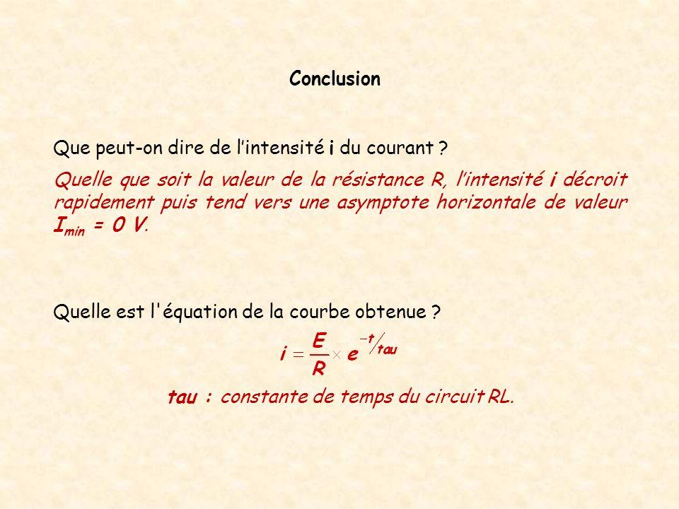 Conclusion Quelle est l'équation de la courbe obtenue ? tau : constante de temps du circuit RL. Que peut-on dire de lintensité i du courant ? Quelle q