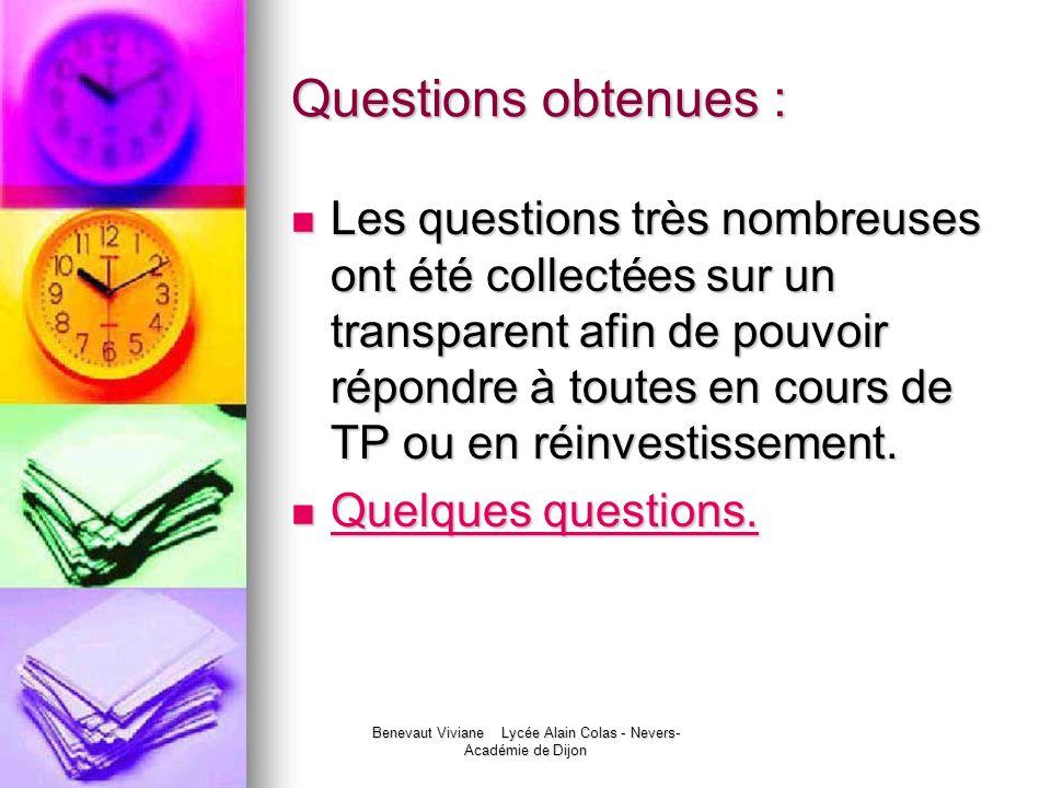 Benevaut Viviane Lycée Alain Colas - Nevers- Académie de Dijon Questions obtenues : Les questions très nombreuses ont été collectées sur un transparen