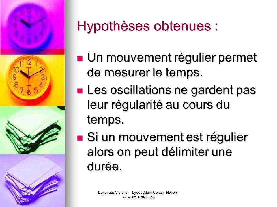 Benevaut Viviane Lycée Alain Colas - Nevers- Académie de Dijon Hypothèses obtenues : Un mouvement régulier permet de mesurer le temps. Un mouvement ré