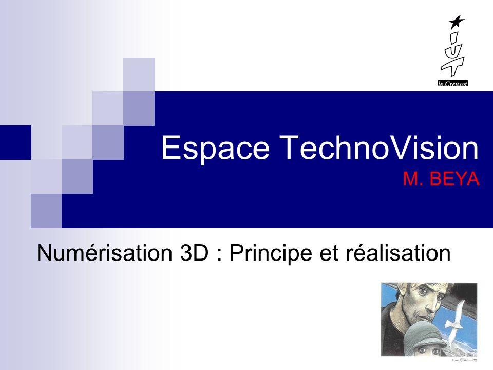 CONCLUSION Notre quotidien est envahi par le NUMERIQUE Il existe différentes techniques de numérisation 3D La stéréovision est la méthode la plus simple à réaliser La numérisation 3D se fait par TRIANGULATION (Laser) ou TEMPS DE VOL (radar).