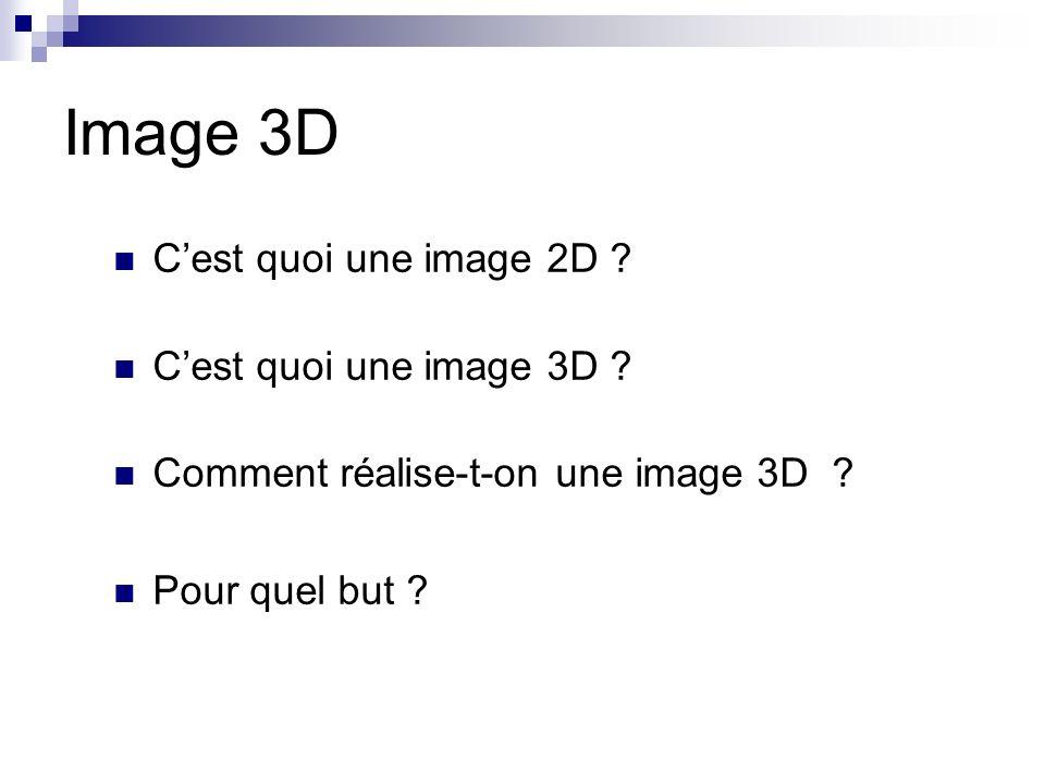 Image 3D Cest quoi une image 2D ? Cest quoi une image 3D ? Comment réalise-t-on une image 3D ? Pour quel but ?