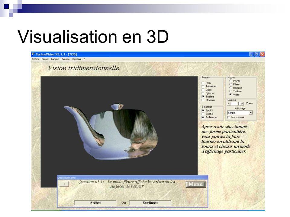 Numérisation 3D – Triangulation Active Triangulation Triangulation : Objet (la cible) Source lumineuse (le Laser) Capteur (Caméra) Image 3D : Différentes techniques