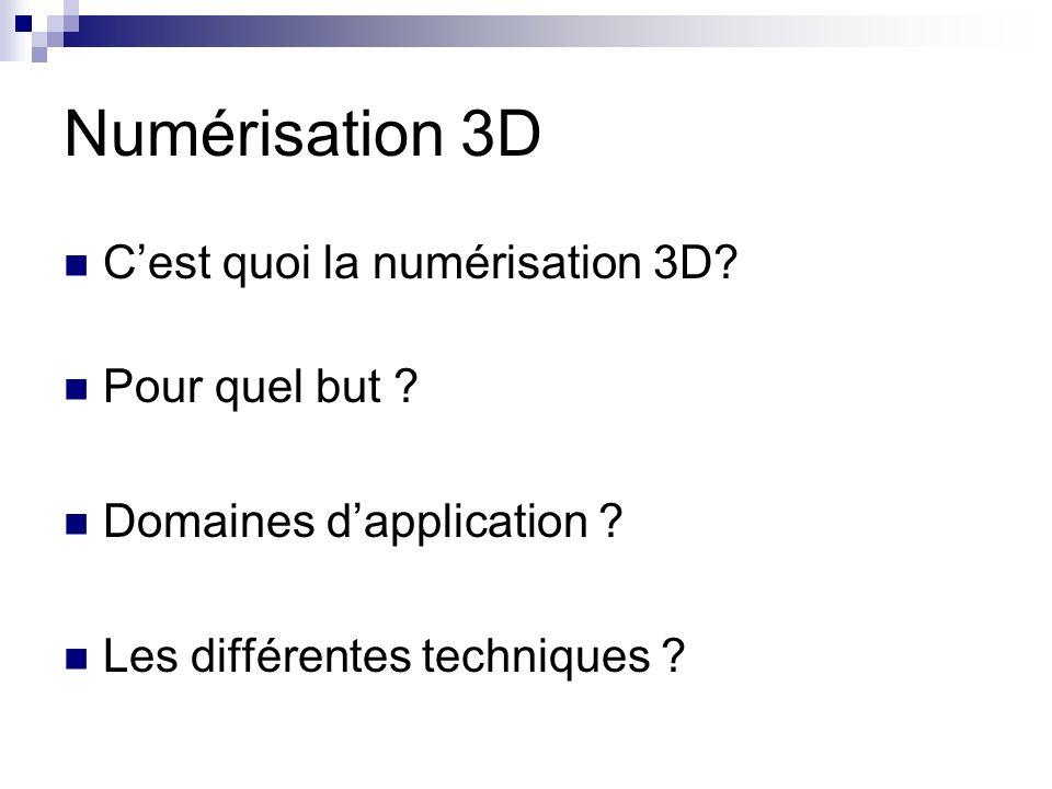 Numérisation 3D Cest quoi la numérisation 3D? Pour quel but ? Domaines dapplication ? Les différentes techniques ?