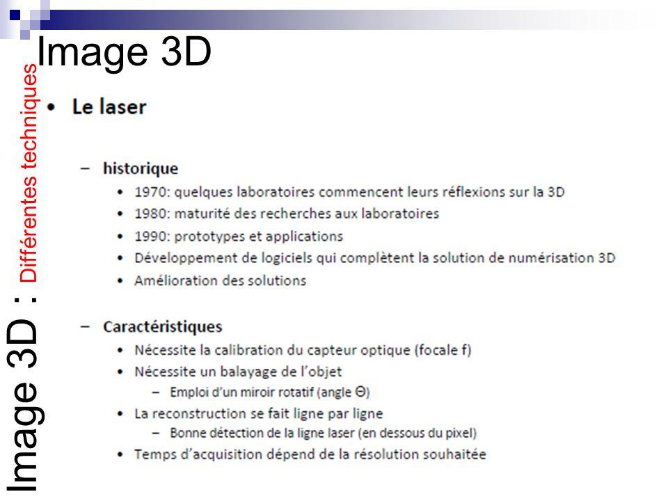 Image 3D Image 3D : Différentes techniques