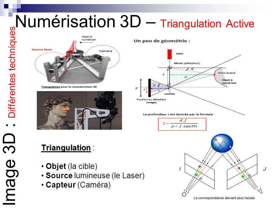 Numérisation 3D – Triangulation Active Triangulation Triangulation : Objet (la cible) Source lumineuse (le Laser) Capteur (Caméra) Image 3D : Différen