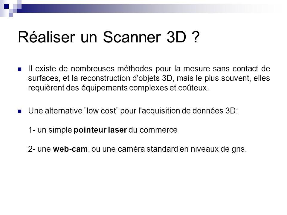 Réaliser un Scanner 3D ? Il existe de nombreuses méthodes pour la mesure sans contact de surfaces, et la reconstruction d'objets 3D, mais le plus souv