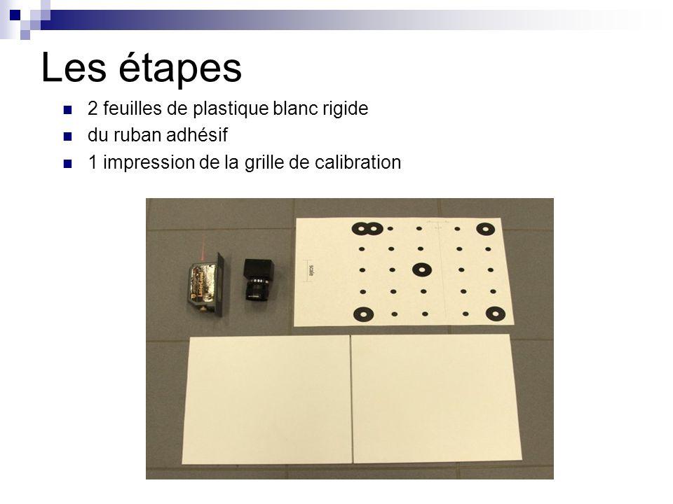 Les étapes 2 feuilles de plastique blanc rigide du ruban adhésif 1 impression de la grille de calibration