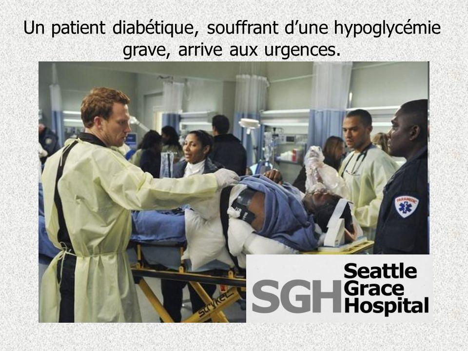 Meredith, le Dr Hunt tattend aux urgences, un patient diabétique a besoin au plus vite dune solution de glucose à 5%.