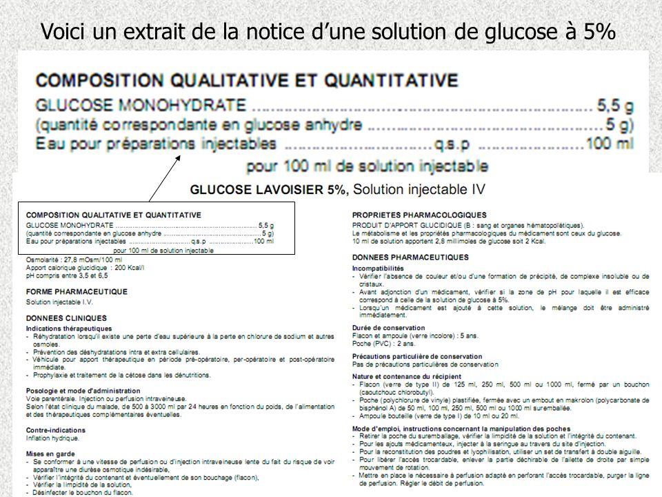 Voici un extrait de la notice dune solution de glucose à 5%