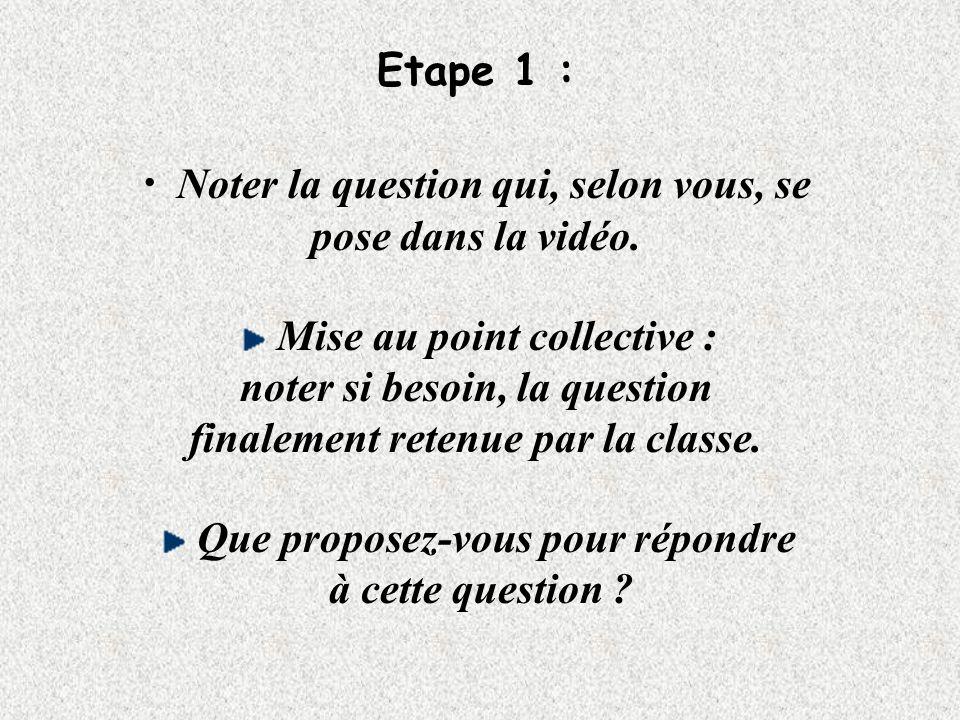 Etape 1 : Noter la question qui, selon vous, se pose dans la vidéo.