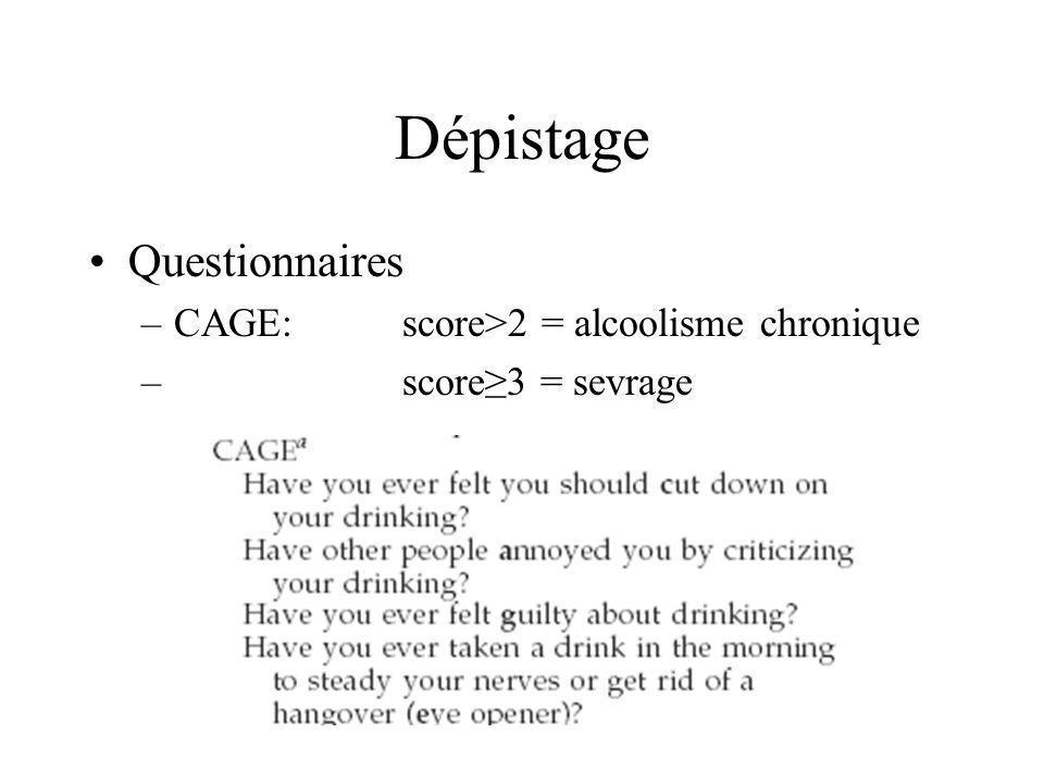 Dépistage Questionnaires –CAGE: score>2 = alcoolisme chronique – score3 = sevrage
