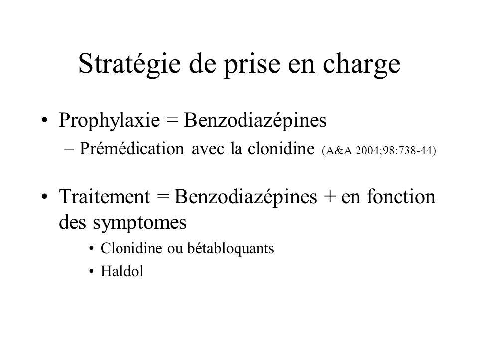 Stratégie de prise en charge Prophylaxie = Benzodiazépines –Prémédication avec la clonidine (A&A 2004;98:738-44) Traitement = Benzodiazépines + en fon