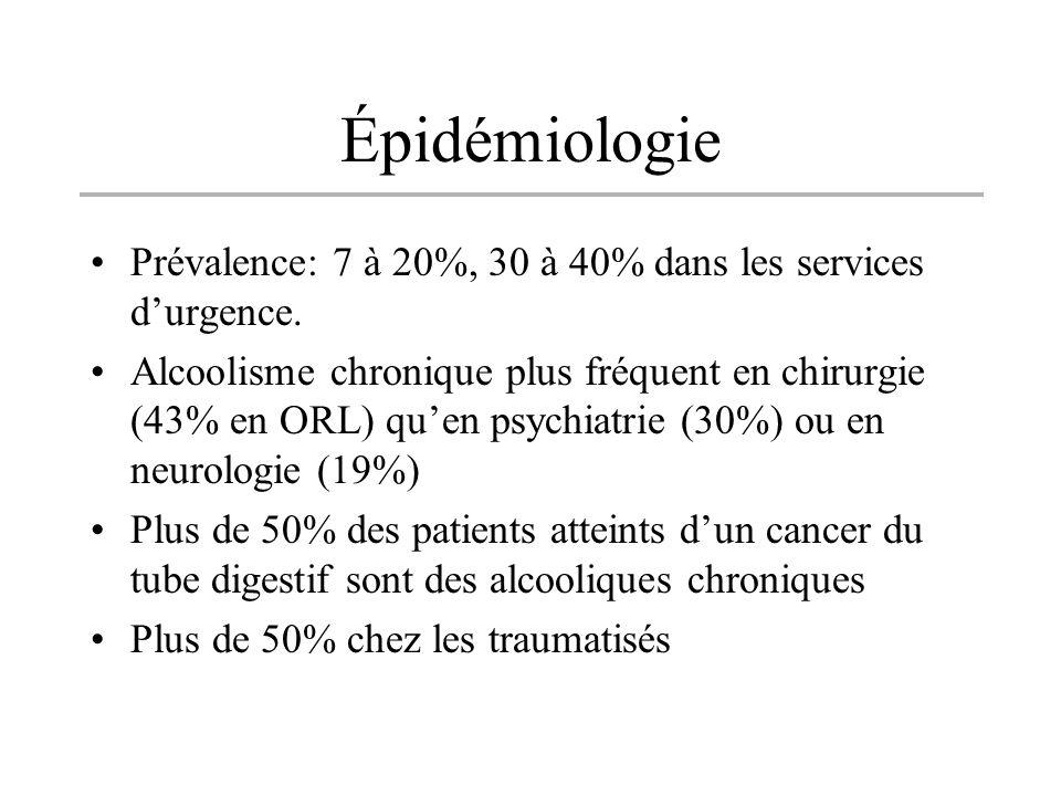 Épidémiologie Prévalence: 7 à 20%, 30 à 40% dans les services durgence. Alcoolisme chronique plus fréquent en chirurgie (43% en ORL) quen psychiatrie
