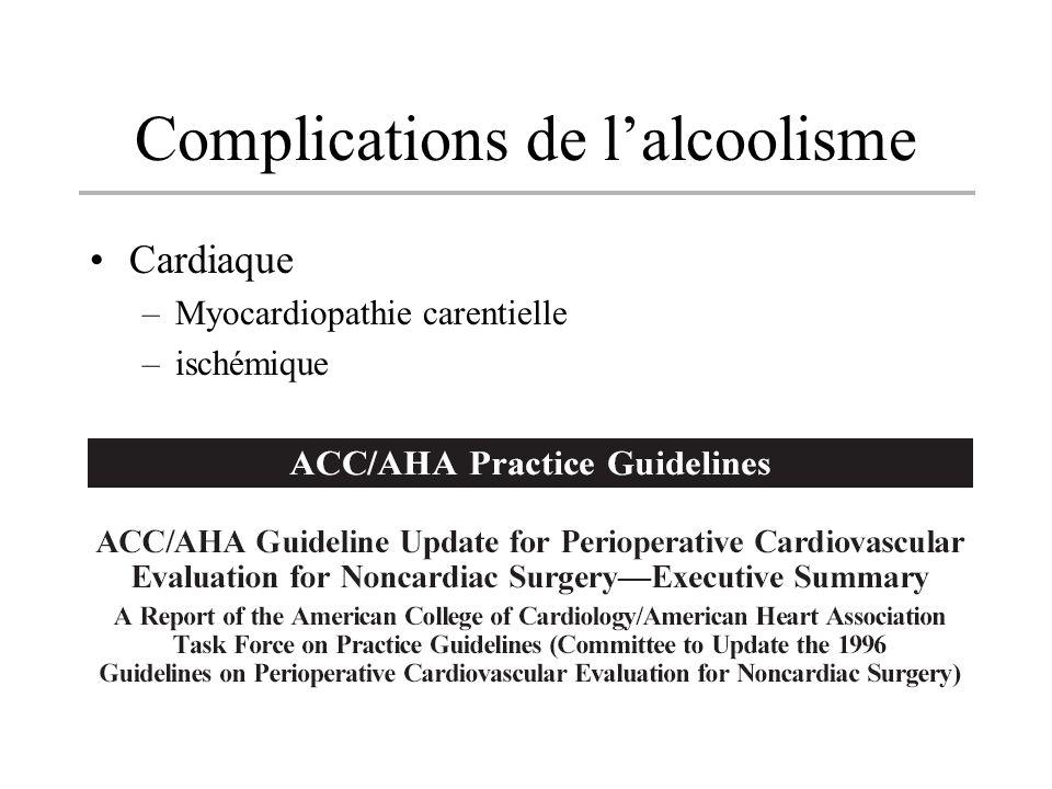 Complications de lalcoolisme Cardiaque –Myocardiopathie carentielle –ischémique