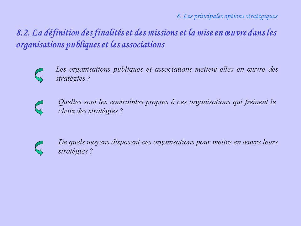 8.2. La définition des finalités et des missions et la mise en œuvre dans les organisations publiques et les associations 8. Les principales options s