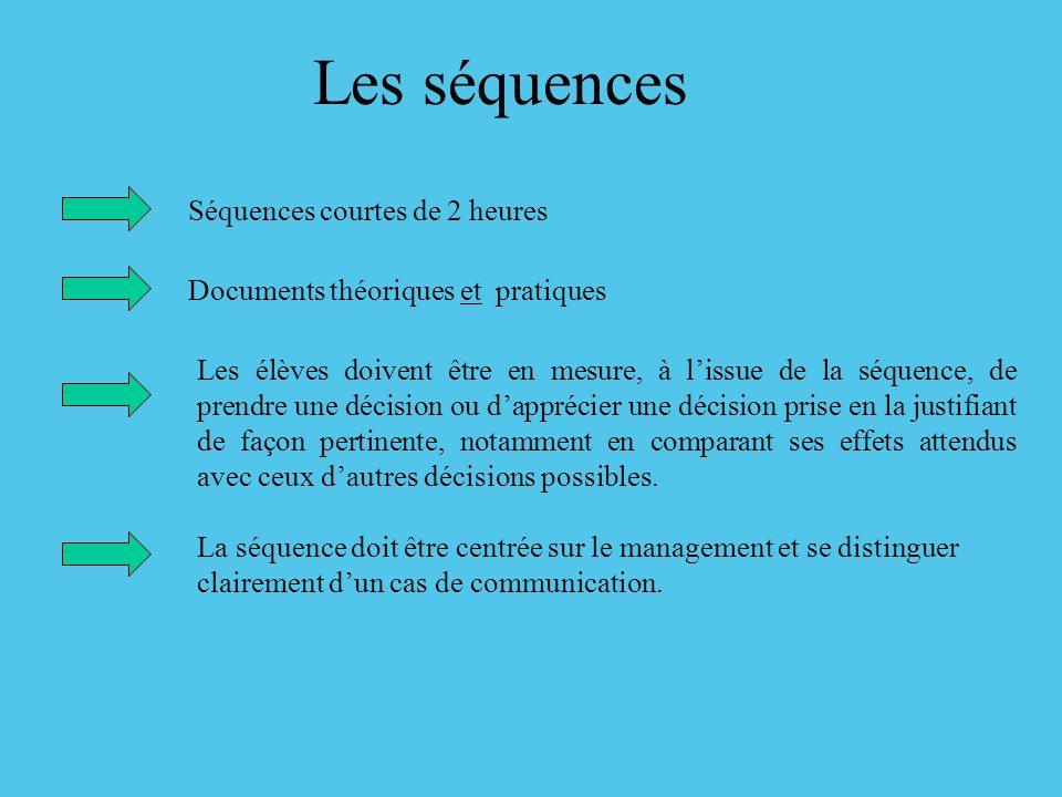Les séquences Séquences courtes de 2 heures Documents théoriques et pratiques Les élèves doivent être en mesure, à lissue de la séquence, de prendre u