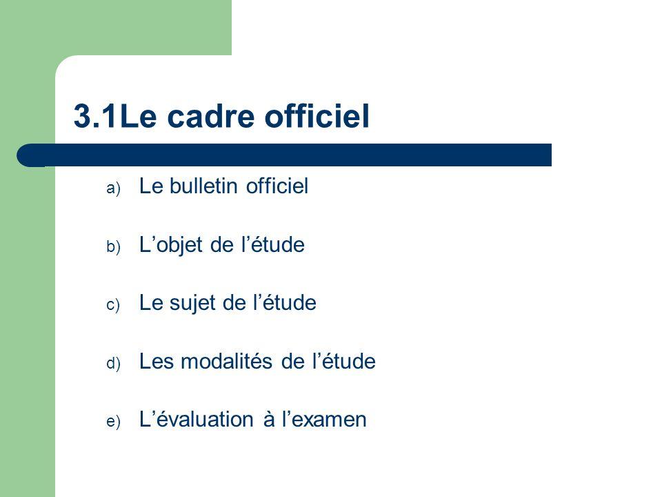 3.1Le cadre officiel a) Le bulletin officiel b) Lobjet de létude c) Le sujet de létude d) Les modalités de létude e) Lévaluation à lexamen