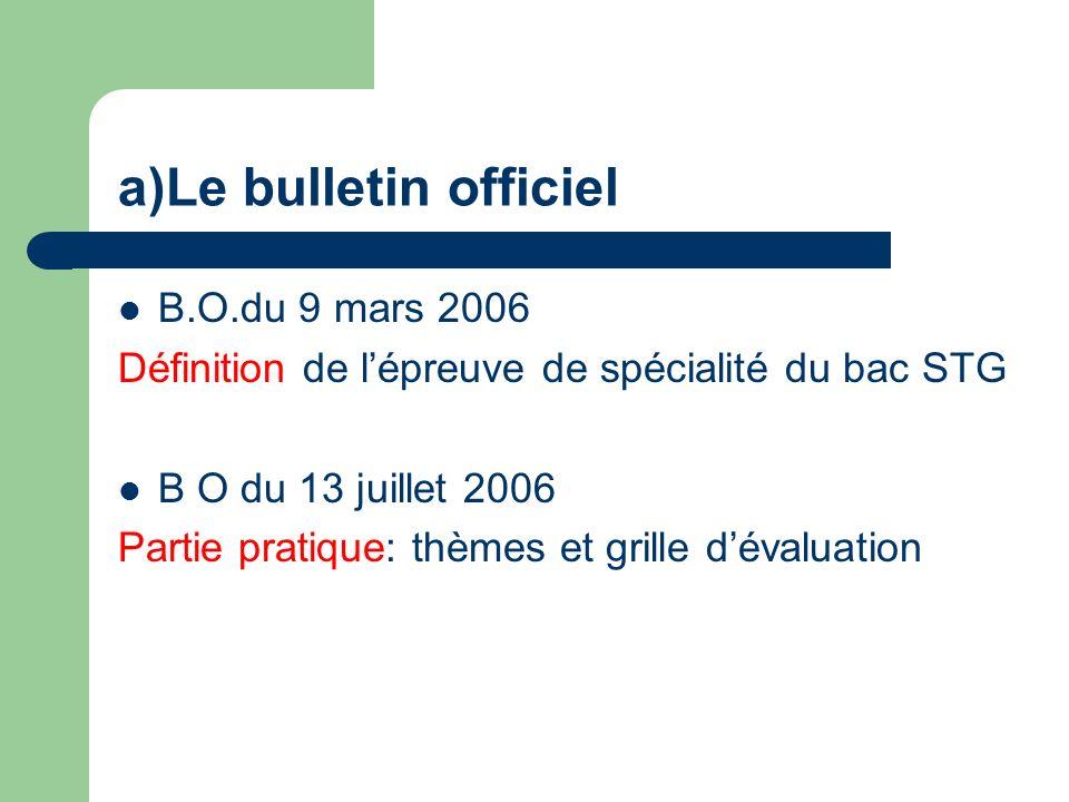 a)Le bulletin officiel B.O.du 9 mars 2006 Définition de lépreuve de spécialité du bac STG B O du 13 juillet 2006 Partie pratique: thèmes et grille dévaluation